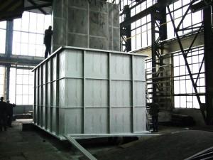 Kulissenmontage  (Dämpferelemente) in den Schalldämpferkanal für DENOX Anlage